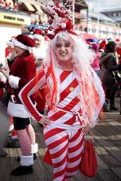 Lots of inspiration, diy & makeup tutorials and all accessories you need to create your own DIY Candy Cane Christmas Costume Idea for Halloween. Candy Land Costumes, Candy Halloween Costumes, Diy Halloween Costumes For Girls, Santa Costume, Christmas Costumes, Cool Costumes, Costume Ideas, Whoville Christmas, Funny Christmas