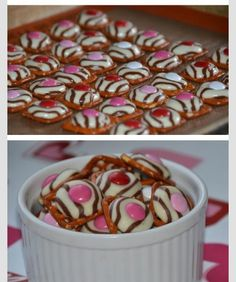 Valentines Day Treat- great idea for a Valentine's Day treat.    Square pretzels, Hershey's Hugs and Pink/Red m&ms!