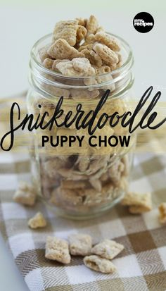 Snickerdoodle Puppy Chow A simple cinnamon-sugar mixture tops this variation on Classic Puppy Chow for a treat reminiscent of freshly-baked cookies. Add to Mason jars with a tag and bow, and you've got a giftable holiday snack. Holiday Snacks, Christmas Snacks, Holiday Recipes, Christmas Recipes, Holiday Appetizers, Holiday Cookies, Christmas Holiday, Snack Mix Recipes, Dessert Recipes
