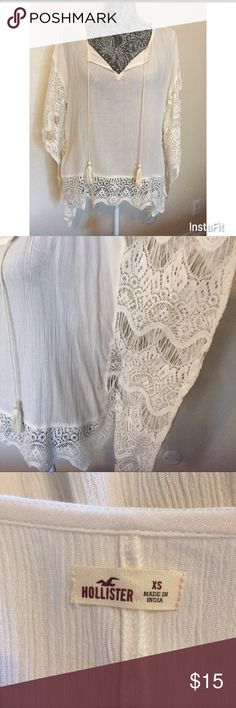 Hollister Drapey Lace Trim Poncho Lightweight and drapey poncho with lace trim. Split V neck with tassel. Looks great with skinny jeans or casual shorts. Only worn once. Hollister Tops Blouses