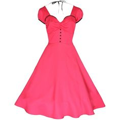 Lindy Bop 'Bella' Classy Vintage 1950's Rockabilly Style Pink Swing... ($47) ❤ liked on Polyvore featuring dresses, 1950, rockabilly, vintage, pink party dresses, vintage party dresses, pink fit-and-flare dresses, trapeze dresses and flare dress
