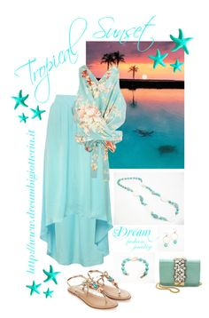 """""""Dream Fashion Jewelry - Tropical Sunset in Turquoise"""" by dreamfashionjewelry on Polyvore"""