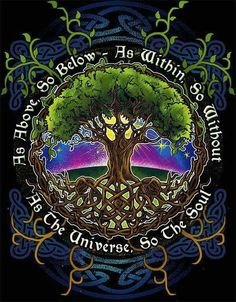Celtic tree of life Les Chakras, Psy Art, Book Of Shadows, Numerology, Magick, Pagan Witchcraft, Fantasy, Artwork, Painting