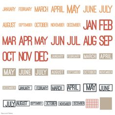 Cricut Days and Dates Garden Of Words, January February March April, Cricut Fonts, Basic Shapes, Dates, Letters, Cricut Cartridges, Crafts, Manualidades