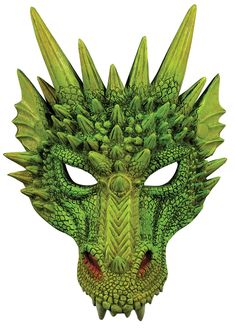 This Green Dragon Half Mask includes a lot of detail showing you're not one to be messed with. This mask features scale texturing, spikes, and a hue of red around the nostrils to reveal you're one hot-headed, fire-breathing dragon. Dragon Vert, Green Dragon, Halloween Costume Accessories, Halloween Costumes, Diy Costumes, Halloween 2020, Halloween Stuff, Halloween Diy, Cosplay Costumes