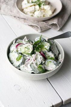 Raikas kurkkusalaatti (meillä kotona) Raw Food Recipes, Meat Recipes, Salad Recipes, Vegetarian Recipes, Cooking Recipes, Healthy Recipes, Free Recipes, Food Goals, Slow Food