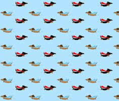 Super Dachshunds by Sudachan - Blue fabric by sudachan on Spoonflower - custom fabric