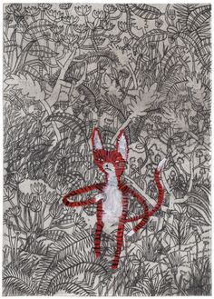 Benjamin Phillips (UK) - 1: Jungle Cat from 100 Cats 2:Wormhole Drypoint 3:Sea Flash from Korea 4:Girl Horse Beach Drypoint 5:Leaving Cat from 100 Cats 6:Grow Up from Korea 7:Nude Women from Patterns 8:Purple Padding 9:Smoking Girls from Bird's Eye Evolution an artist book commissioned by SSE Project.  His illustrations are incredible. Check him out!