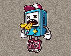 Bad BMO Sticker Character (Cartoon Vector) by Ink Heart, via Behance