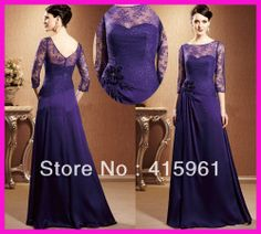 Vintage Purple Lace Long Sleeves Chiffon Mother of the Bride Dresses Gowns M1560 $129.00