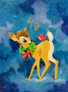 #retrochristmas, #babydeer, Vintage Christmas Card, Retro Christmas Card,  #Bambi