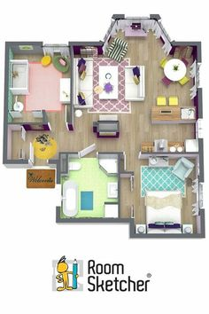 Aerial view of the floor plan for our Spring Showroom house -- Which room is your favorite? Are you an interior designer or decorator? Impress your clients with stunning interior design images. It's easy with RoomSketcher Pro! Layouts Casa, House Layouts, Room Layouts, Sims 4 Houses Layout, House Layout Plans, Sims 4 House Plans, House Floor Plans, Sims 4 House Design, Sims Building