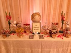Vintage Travel Themed Wedding - candy from all over the world! <3