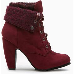 CiCiHot Burgundy Faux Suede Chunky Fold Over Lace Up Booties ($39) ❤ liked on Polyvore featuring shoes, boots, ankle booties, laced booties, chunky boots, thick heel booties, chunky lace up booties e chunky lace up boots