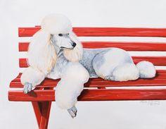 Poodle on Red Bench painting via artistinternationalgallery.com