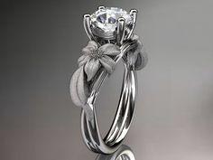 14kt white gold diamond leaf and vine wedding by anjaysdesigns,