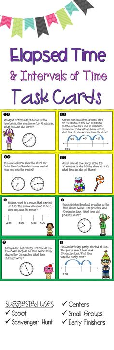 These task cards are great for practicing adding and subtracting intervals of time / elapsed time in problem solving situations. Use as scoot or scavenger hunt, with math groups, or for early finishers.