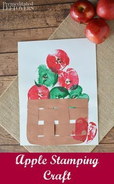 Apple Stamping Craft Project for Kids- This stamping craft idea is a fun way to paint with apples. It& also a frugal and easy activity for kids! Use this tutorial for a fun fall activity or a hands-on activity when teaching the letter a to children Autumn Activities For Kids, Fall Crafts For Kids, Holiday Crafts, Fun Crafts, Art For Kids, Harvest Crafts For Kids, Apple Crafts For Preschoolers, Fall Art For Toddlers, Fall Crafts For Toddlers