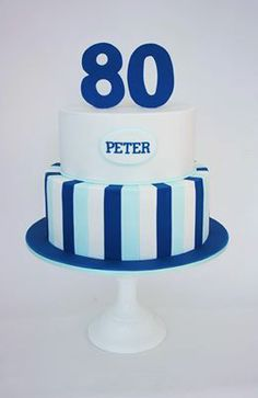 80th Birthday cake for men - Love the simple elegance of this cake! No instructions, but I think if you've worked with fondant this should be pretty simple.