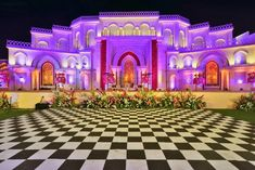 Are you looking for wedding decor in some traditional shades? Here is a beautiful yellow wedding decor with a touch of magenta pink elements! Purple Wedding Decorations, Flower Decorations, Yellow Purple Wedding, Purple Wisteria, Wedding Stage Design, Floral Chandelier, Pink Garden, Orange Background, Outdoor Gardens