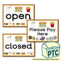 Fast Food Takeaway Role Play Resources - Primary Treasure Chest Teaching Activities, Teaching Ideas, Ourselves Topic, Candy Shop, Role Play, Treasure Chest, Sweets, Foods, Signs