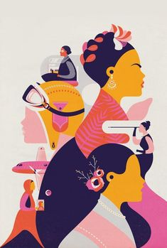 Illustration The Women Are Phenomenal Frida Kahlo Rosa Parks Amelia Earhart Audrey Hepburn Rosa Parks, Buch Design, Art Design, Design Shop, Color Concept, Posca Art, Plakat Design, Poster Design, Amelia Earhart