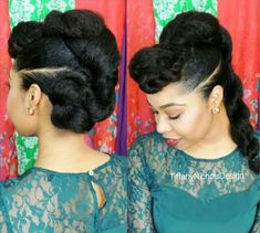 black twisted updo for natural hair (protective hairstyles for natural hair crochet) Protective Hairstyles For Natural Hair, Natural Hair Updo, Natural Hair Styles, Natural Beauty, Twisted Hair, Bun Styles, Mohawk Styles, Pelo Natural, Natural Hair Inspiration