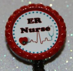 Er Nurse Name Badge Holder. Nurse Name Badge, Name Badges, Badge Holders, Badge Reel, Handmade Gifts, Nursing, Crafts, Etsy, Kid Craft Gifts