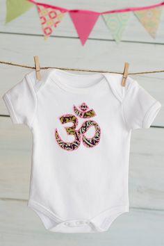 Organic Baby Onesie HandStitched Yoga Om Symbol by BelugaBabybyBEX, $24.00