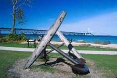 Anchor of a Great Lake ship on display in Mackinaw City.
