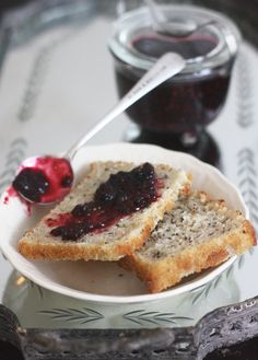 Brown rice bread + blackberry jam with ch-ch-ch-chia seeds. Got a bagful of these little gems and wondering exactly what to do with them! Lol