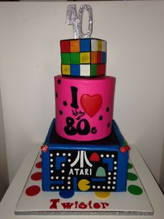 80s theme cake by Sucre Bleu (design based on Client's photo)