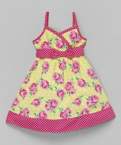 Another great find on #zulily! Fuchsia & Yellow Floral Surplice Dress - Infant, Toddler & Girls by Sugah & Honey #zulilyfinds