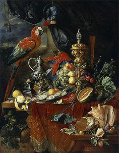 Title: Still Life with Parrots, c.1646/49 Artist: Jan Davidsz de Heem Medium: Canvas Print
