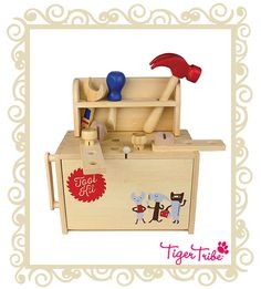 Bamboo BoxSets are beautifully designed eco-friendly wooden playsets that fold open for creative, imaginative play. Open your Tool Kit Wooden Playhouse Kits, Wooden Playset, Build A Playhouse, Wooden Toys, Bamboo Box, Buy Bamboo, Tiger Tribe, Ri Happy, Bamboo Design