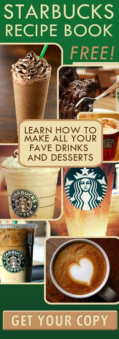 Starbucks Recipe Book. Link to a pdf file with all of Starbucks best drink and food recipes! @Kandis Tubb check this out!