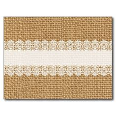 Delicate lace against burlap texture - sweet, shabby chic style!