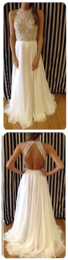 Lace Prom Dresses,Ivory Prom Gown,Beaded Prom Dress,Backless Formal