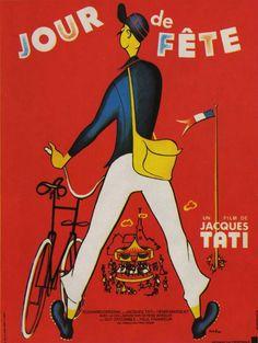 """MP601. """"Jour de fête"""" French Movie Poster by René Péron (Jacques Tati 1949) / #Movieposter"""