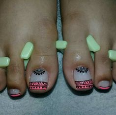 Hello Nails, Cute Pedicures, Summer Gel Nails, Feet Nails, Toe Nail Designs, Toe Nail Art, Nail Arts, Hair And Nails, Nail Colors