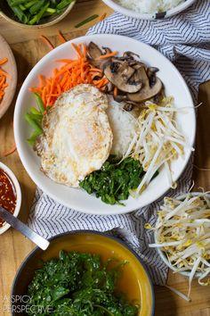 Healthy Korean Bibimbap - Rice and Veggie Bowl with a Fried Egg and Gochujang Sauce #vegetarian #healthy #Korean