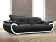 Canapé 3 places cuir SMILEY - Bicolore Noir et Blanc prix promo Vente Unique 649,99 € TTC au lieu de 1 239.00 €