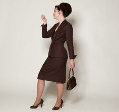 Vintage 1940s Suit Brown Wool Two Piece Skirt by AlexSandras, $195.00