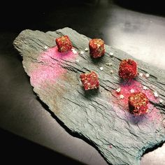 Milk chocolate ganache with oolong tea,coated in pistachios and forest fruit powder #sweet #temptation#forourguests#fozoo #fouzoolovers #asian #modernist #dessert #foodart #foodporn #gastroart #chefstalk #chefsheart #chefsroll#passion #slovakia #bratislava #petrzalka