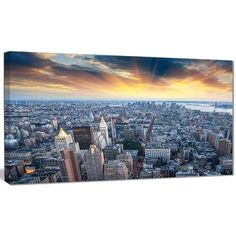 """DesignArt 'Aerial View of NYC Skyscrapers' Photographic Print on Wrapped Canvas Size: 16"""" H x 32"""" W x 1"""" D"""