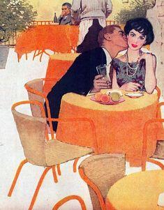 Ward Brackett - Cosmo June 1959. Illustration for short story titled Rendezvous by Daphne Du Maurier.