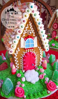 PINK gingerbread house, perfect for Valentine's Day or any little girl; www.gingerbreadjournal.com
