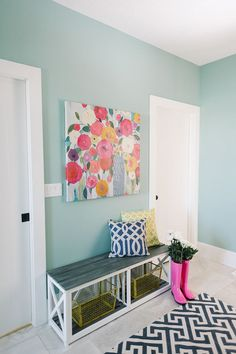 design Design Loves Detail One of the things I wish our home had was a mudroom…they are so handy here in Minnesota! This bright and beautiful space designed by Mollie Openshaw of Design Loves Detail would be perfect fo… House Of Turquoise, Turquoise Wall Colors, Palette, Beautiful Space, My Room, Decoration, Paint Colors, Family Room, Sweet Home
