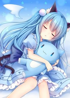 Anime picture 2220x3106 with  original nachi long hair single tall image open mouth highres blue hair animal ears eyes closed tail cat ears animal tail catgirl cat tail girl dress bow toy stuffed animal