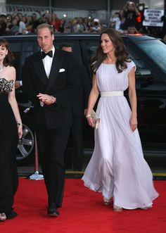 Prince William, Duke of Cambridge and Catherine Duchess of Cambridge black tux white shirt lilac Alexander MCQueen dress